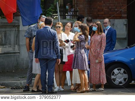 Bucharest, Romania - August 02, 2020: Ludovic Orban Speaks With Journalists At The National Politica