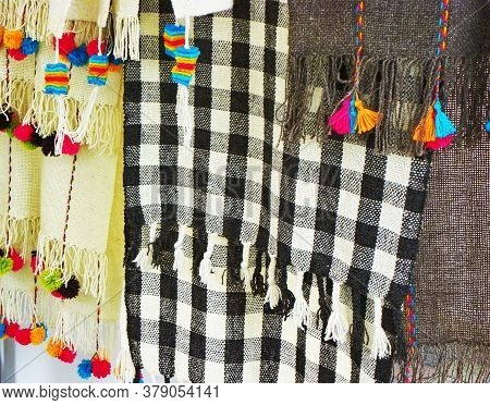 Peruvian Woolen Scarves For Sale At The Open Market