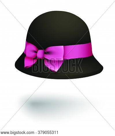 Graceful Lady Bowler Hat With Round Brim And Bright Pink Silk Bow. Autumn And Spring Women Clothing.