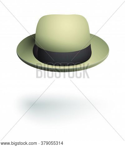 Gentleman Headdress, Hat With Round Brim In Beige. Spring And Autumn Men Clothing. Realistic Vector