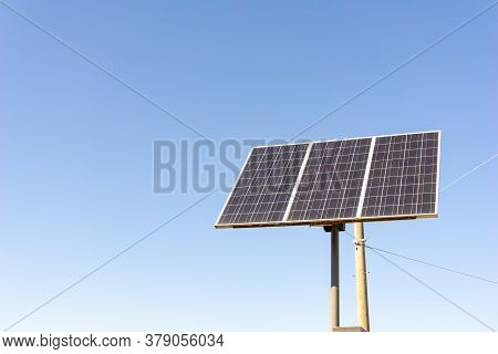 Solar Cell Panel Attached To The Steel Pole To Collect The Sunlight Energy To Produce Electricity.
