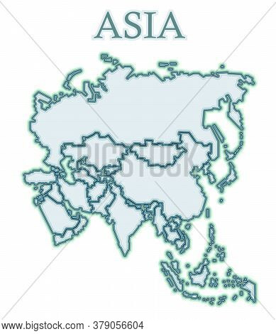 Map Of Asia. Vector. Flat Cartoons. Inaccurate. It Looks Like A Continent Of Icy Or Stone Parts Of T