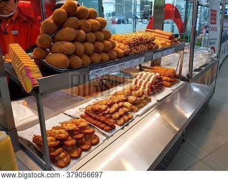 Busan, South Korea - November 16, 2017: Snack Shop Sells Popular Snack Made Of Sausages, Tteok-bokki