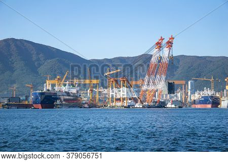 Geoje Island, South Korea - October 20, 2018 : Bay Of Daewoo Shipbuilding And Marine Engineering (ds