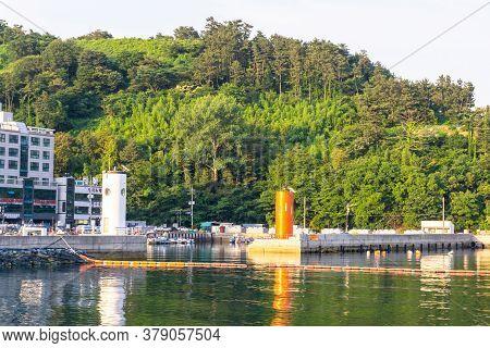 Geoje, South Korea - June 15, 2017: Small Fishing Boat Pier At Dsme Harbour In Okpo, Geoje Island, G