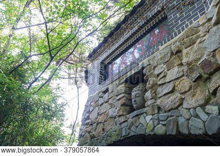 Busan, South Korea - July 20, 2017 : Buddha Head Decorate On The Entrance Of The Haedong Yonggungsa