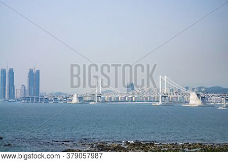 Busan,south Korea - July 20, 2017: The Gwangandaegyo Or Gwangan Bridge Or Diamond Bridge Is A Suspen