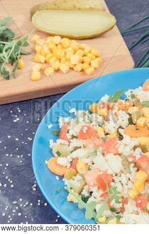 Fresh Prepared Salad With Couscous And Vegetables As Best Nutritious Food For Dieting And Slimming.