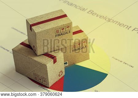 Closeup Shot Of Three Cardboard Paper Boxes And This Type Of Financial Charts Include Stacks Of Bar