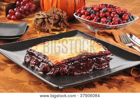 Fruit Cobbler On A Holiday Table