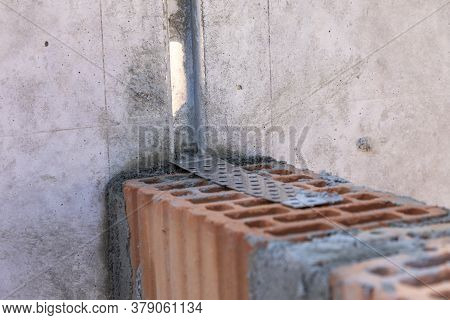 Detail Of Connection Of Building Blocks With Cellar Wall In Metal