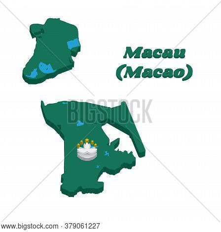 3d Map Outline And Flag Of Macau, Green With A Lotus And Stylised Governor Nobre De Carvalho Bridge