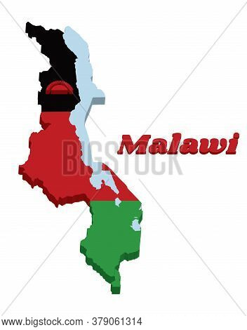 3d Map Outline And Flag Of Malawi,  A Horizontal Triband Of Black Red And Green; Charged With A Red
