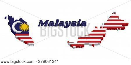 3d Map Outline And Flag Of Malaysian In Blue Red White And Yellow Color With Yellow Star And White C