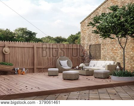 Loft Style Outdoor Living Area 3d Render,there Are Wooded And Clay Tiles Floor,old Brick Wall And Wo