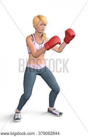 Young Blonde Girl With A Menacing Expression Trains Boxing - Isolated On White Background - 3d Illus