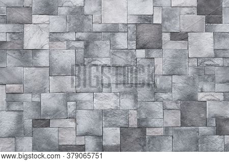 Squares Background, Stone Wall Texture, Gray Rock Floor. Monochrome Granite, Brick Surface. Architec
