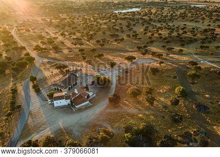 Landscape With Christian Hermitage Near Arroyo De La Luz. Ermita De La Luz. Extremadura. Spain.