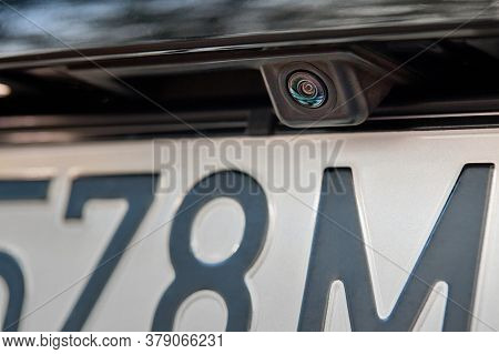 Luxury Rear Car Rear View Camera Close Up For Parking Assistance. Concept Of Safety Car Driving Whil