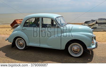 Felixstowe, Suffolk, England -  May 07, 2017: Classic Light Blue Morris Minor Parked On Seafront.