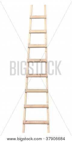 Wooden Ladder, Vertical Isolated Stepladder, Detailed Closeup, Light Rough Wood Close Up