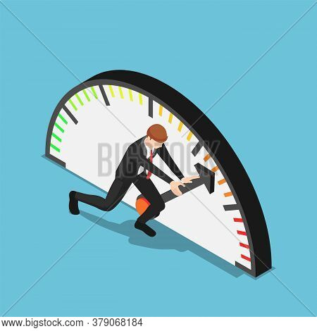 Flat 3d Isometric Businessman Trying To Push Meter To The Maximum Position. Aspiration And Business