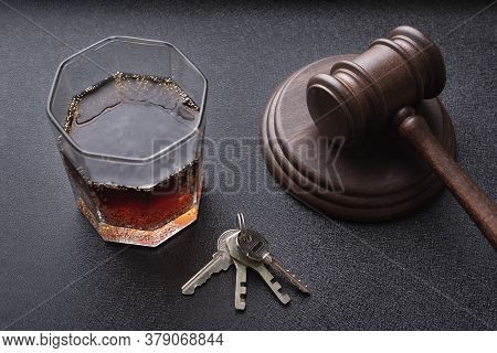 Judges Hammer And Alcohol Liquor. Concept For Drink Driving. Justice Legal And Jurisprudence Concept