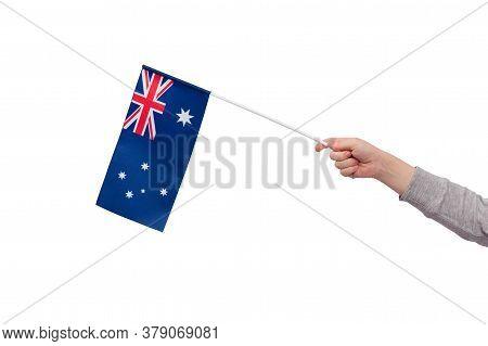 Childrens Hand Holds Flag Of Australia Isolated On White Background