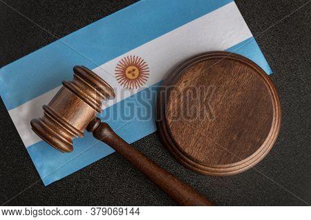Lawyers Wooden Gavel On Argentine Flag Background. Court In Argentina. Argentina International Pair