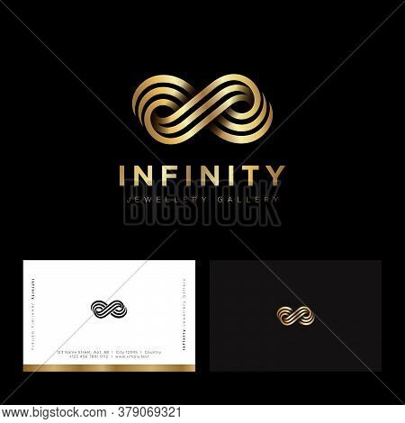 Infinity Logo, Consist Of Golden Strips Or Ribbons. Infinity Abstract Emblem. Logo Can Be Used For B
