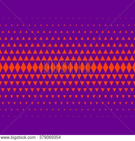 Geometric Texture, Seamless Frieze. Orange Triangles And Rhombuses On Violet Background. Pattern For