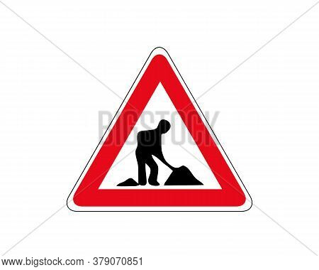 Road Works Sign, Under Construction. Red Glossy Road Sign With Working Man Isolated On White Backgro