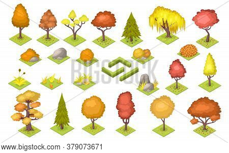 Set Of Isolated Vector Autumn Trees And Stones, Bush Fence. Garden And Park Landscape At Fall. Fores