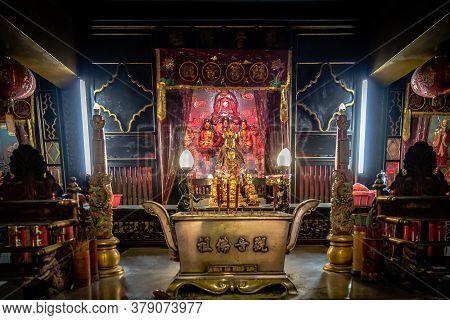 Surabaya, Indonesia - November, 04, 2017: Interior Of A Chinese Temple In Surabaya Java Indonesia