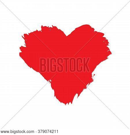 Vector Illustration Of Grunge Brushstroke Painted Red Heart Shape Isolated On White Background