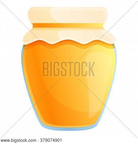 Farm Honey Jar Icon. Cartoon Of Farm Honey Jar Vector Icon For Web Design Isolated On White Backgrou