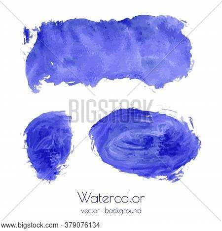 Vector Set Of Navy Blue Watercolor Hand Painted Texture Backgrounds Isolated On White. Abstract Coll
