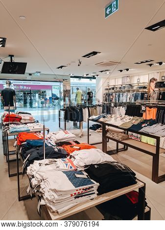 Budva, Montenegro - 01 August 2020: Interior Of A Youth Clothing Store. The Goods Are On The Shelves
