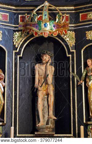KLANJECKO JEZERO, CROATIA - NOVEMBER 06, 2013: Wounded Jesus, the chapel of Saint George at the Lake in Klanjecko Jezero, Croatia