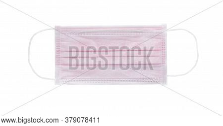 Pink Sanitary Mask On The White Background.coronavirus,the Mask Is Used To Prevent Germs.