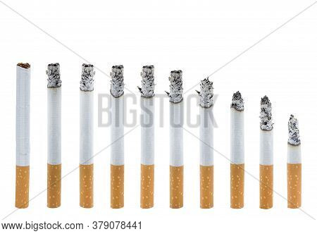 Cigarettes Isolated On White Background With Clipping Path