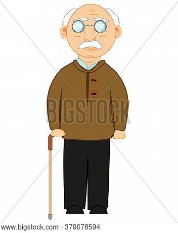Elderly Man With Walking Stick In Hand