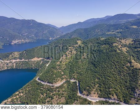 Aerial View Of  Vacha (antonivanovtsi) Reservoir, Rhodope Mountains, Plovdiv Region, Bulgaria