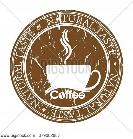 Faded Impression Of A Stamp With A Cup Of Coffee And The Inscription Real Taste, Isolated On A White