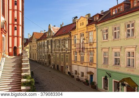 Panoramic View Of Famous Czech Medieval Town Of Loket With Colorful Houses And Cobblestone Street. T