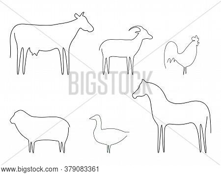 Farm Animals Line Set Vector Illustration. Cow, Cock, Goat, Horse, Sheep And Goose Isolated On White