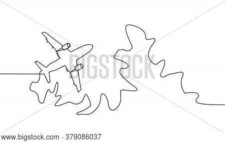 Continuous Line Drawing Of Jet Plane. Continuous One Line Drawing Minimalism Design Isolated On Whit