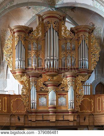 Bad Sobernheim, Germany - June 25, 2020: Organ Of The Parish Church Saint Matthias On June 25, 2020
