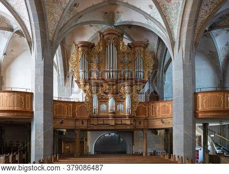 Bad Sobernheim, Germany - June 25, 2020: View Throught The Main Aisle Of The Parish Church Saint Mat