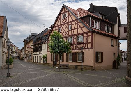 Bad Sobernheim, Germany - June 27, 2020: Old Buildings In The Downtown Of Bad Sobernheim Against Clo
